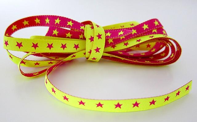 neon webband sterne sternchen pink gelb farbenmix