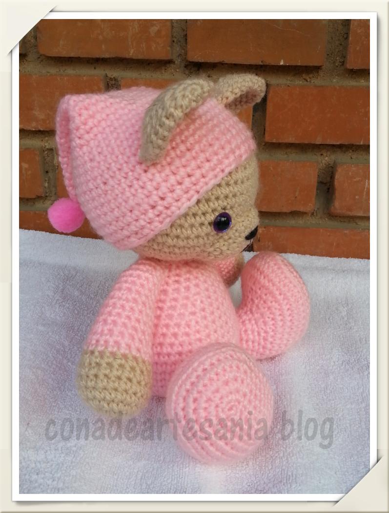 Amigurumi Monkey Patron Gratis : con A de artesan?a: Osita con pijama y gorrito rosa