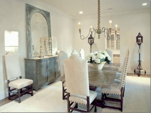 gorgeous light bright rustic shabby chic style white dining room