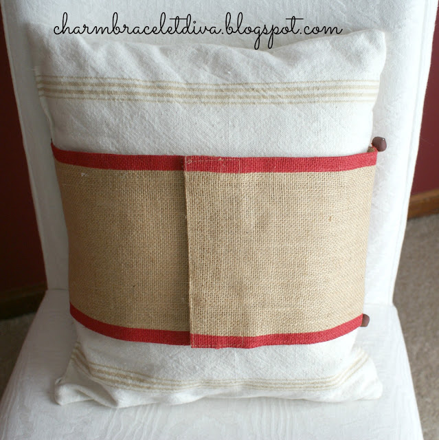 Velcro-backed burlap pillow wrap