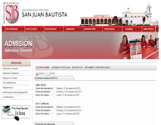 UPSJB Ingresantes Universidad Privada San Juan Bautista UPSJB 2015-2 Lima domingo 23 de Agosto