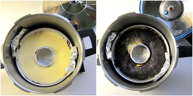 Chocoflan BEFORE and AFTER pressure cooking - the layers swap places!