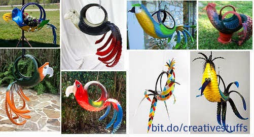 20 Amazing Birds Made out of waste tyre, Garden decor ideas, hanging birds