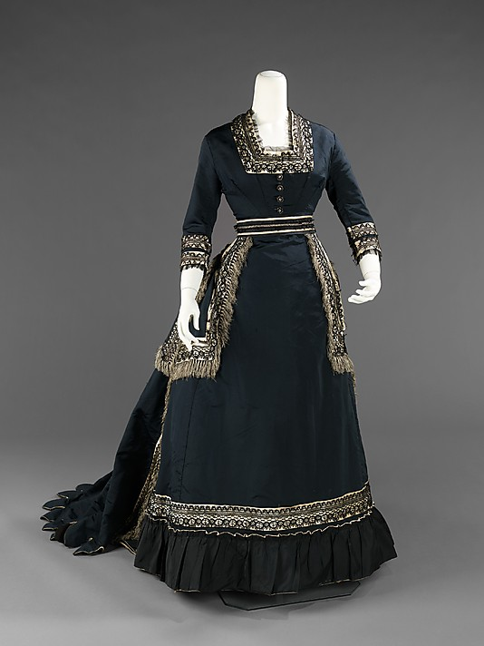 Navy Blue Victorian Mourning Dress