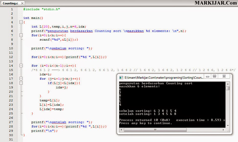 Contoh Program Counting Sort Bahasa C Markijar Com