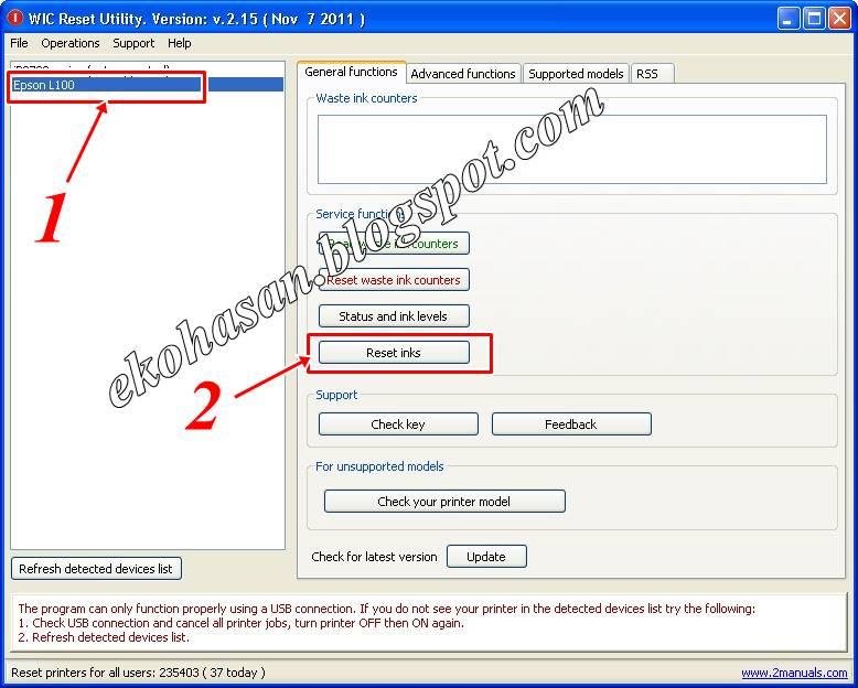 Cara Reset Tinta Epson L100, L200, L800 dengan Software