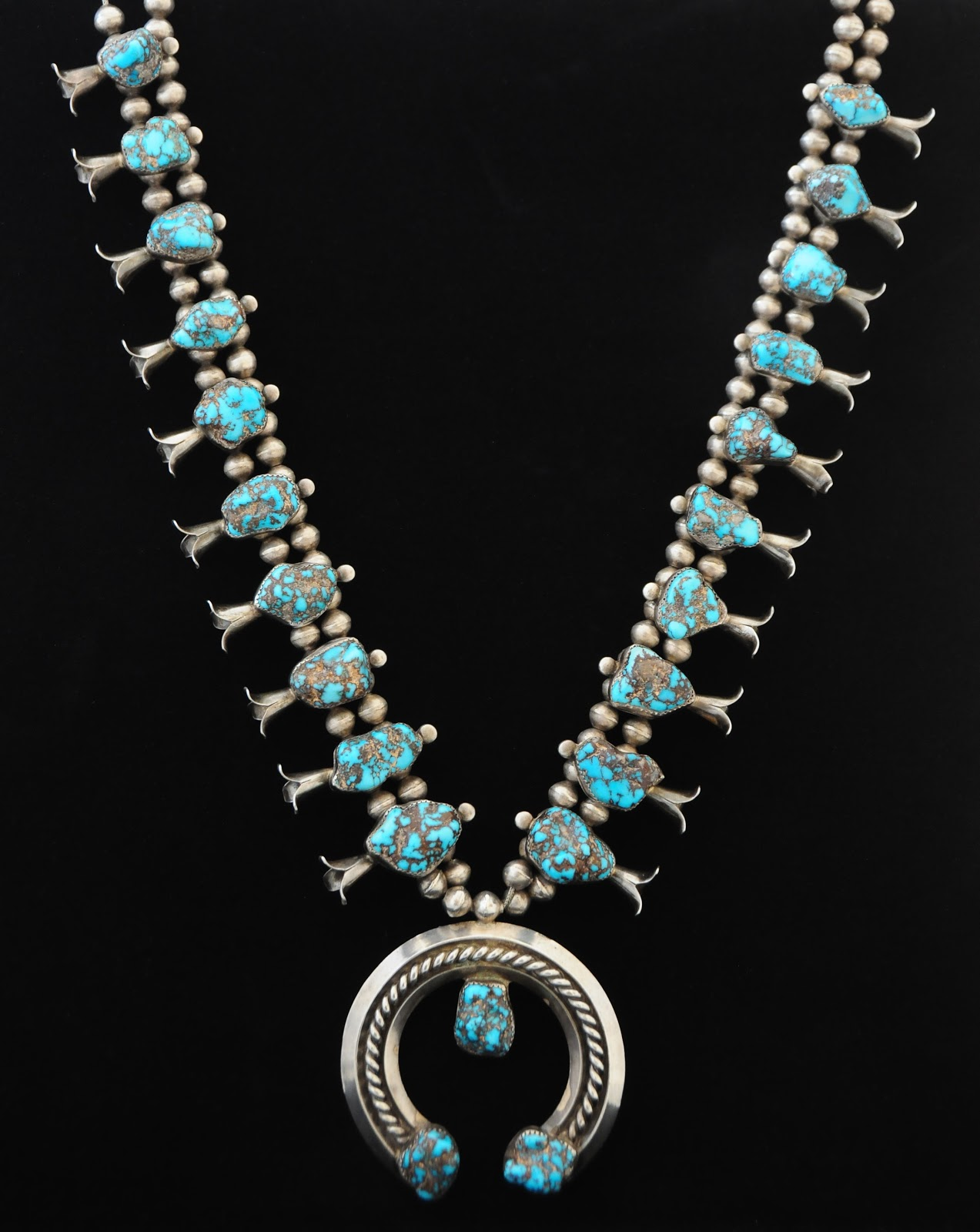 saks galleries navajo squash blossom necklace with
