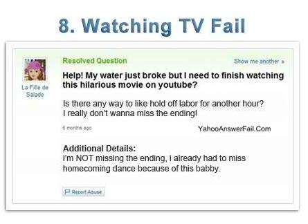 yahoo answers fail - Watching TV Fail