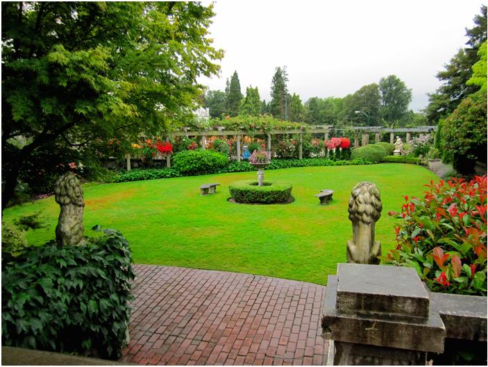 Beautiful green gardens of Hycroft Manor