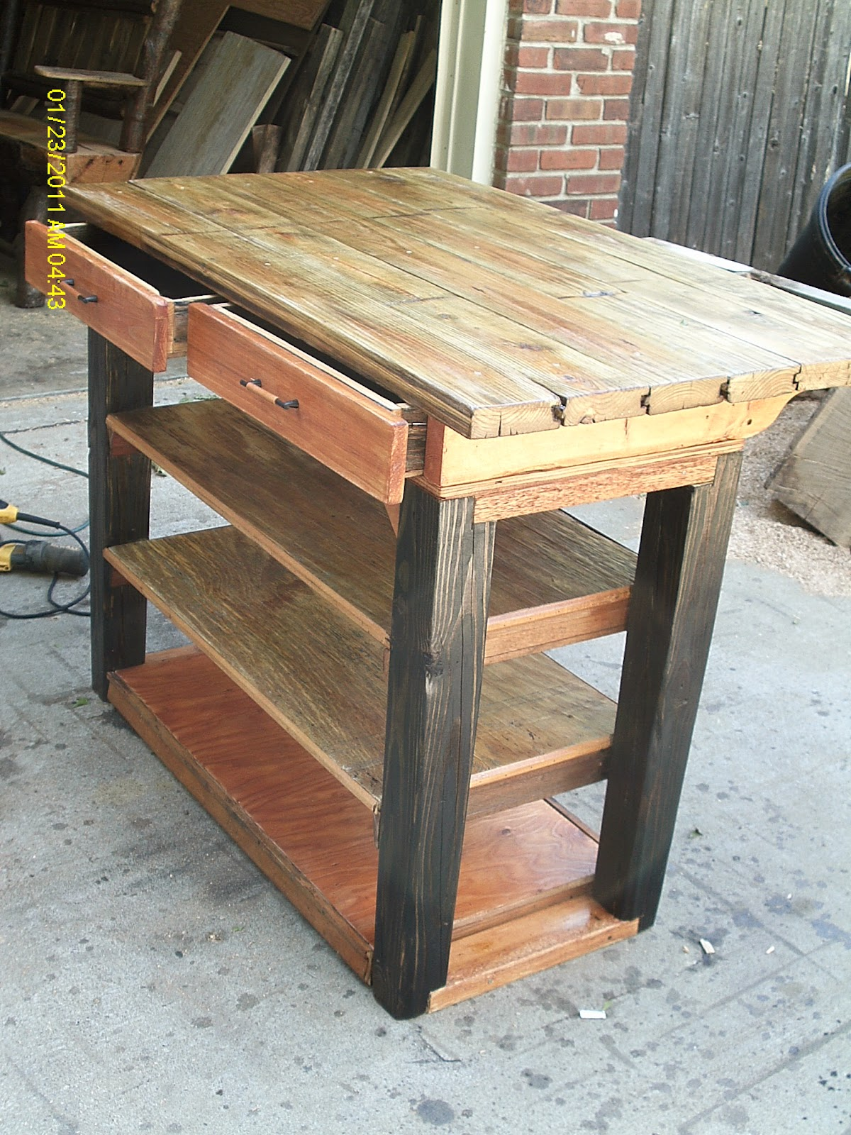Handmade rustic log furniture custom kitchen island for Custom made furniture