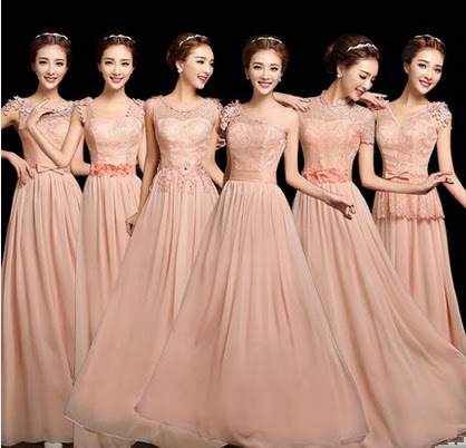6-Design Soft Peach Pixie Flowery Lace Top Bridesmaids Dress