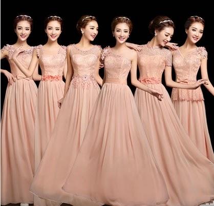 6-Design Soft Peach Pixie Flowery Lace Top Bridesmaids Dress