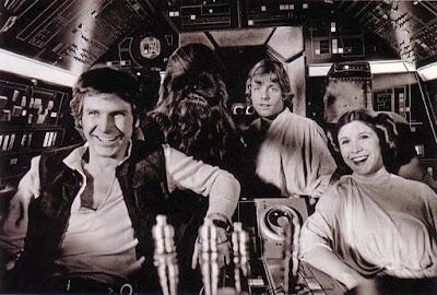 Han, Luke, y Leia en el Halcon Milenario