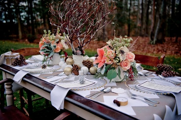 winter themed wedding reception