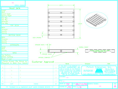 Technical drawing of a pallet, courtesy of Paltech Enterprises .
