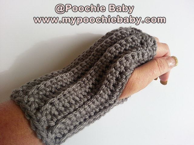 Raising Mimi Poochiebaby Free Crochet Pattern Ribbed Fingerless