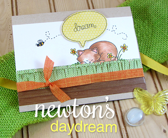 Sweet Dreaming Kitty card by Jennifer Jackson for Newton's Nook Designs | Newton's Daydream Cat stamp set