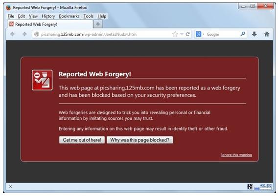 Gambar: Contoh blokir penyedia jasa hosting terhadap penyalahgunaan (phising site)