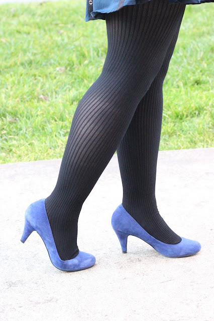 Textured Tights and Blue Suede Pumps