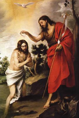 San Juan Bautista bautizando a Jesus.