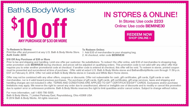 Bath And Body Works Printable Coupon