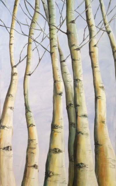 Aspen Tree Painting, Pamela Hunt Lee