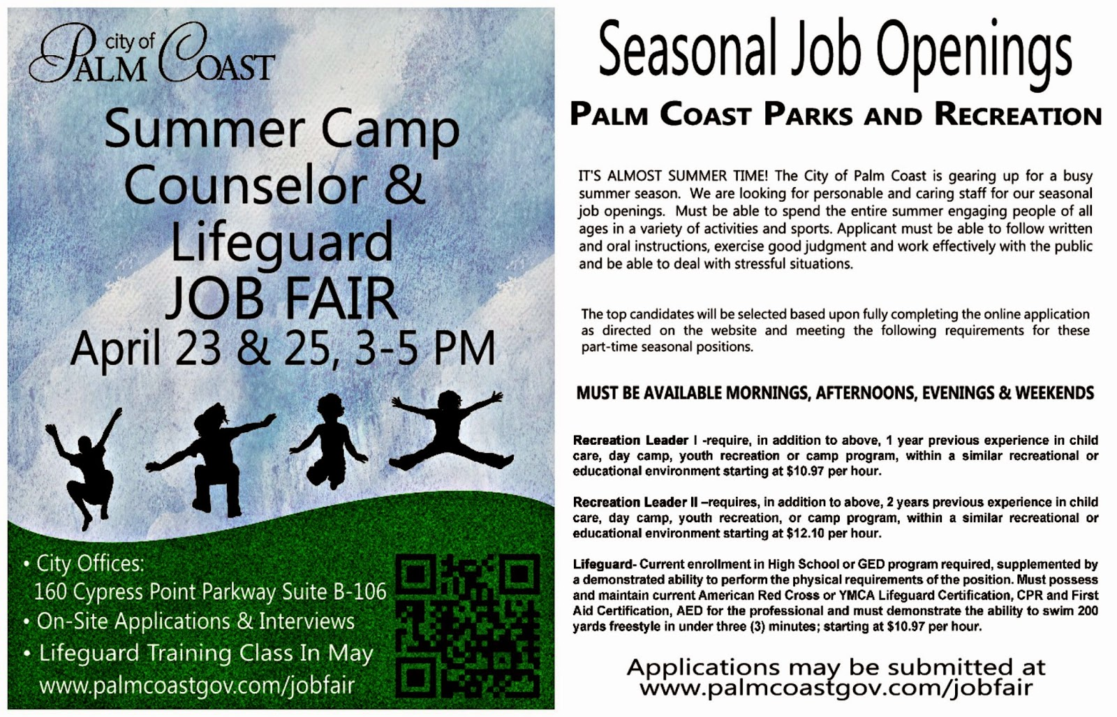 City of Palm Coast Summer Camp Counselor Lifeguard Job Fair – Camp Counselor Job Description