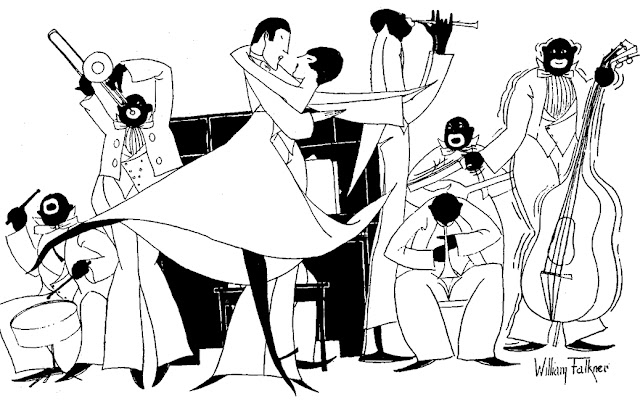 William Faulkner, Drawing of man and woman dancing in front of a jazz orchestra: Ole Miss 1920-1921 vol. XXV p. 137, illustration of a page with the members of the Red and Blue Club, a dancing society