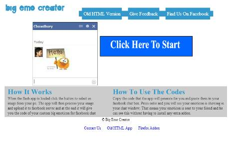 make your own facebook emoticon- big emo creator