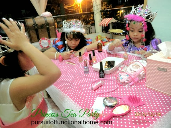Princess Tea Party Ideas, decorations, little girls applying nail polish