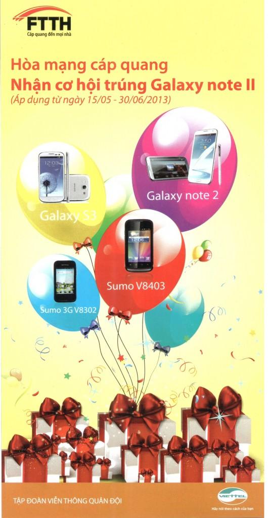 Lắp mạng cáp quang Viettel trúng thưởng Galaxy Note 2