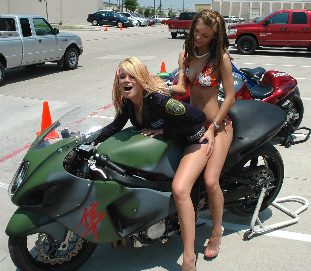 image Hot naked biker chicks getting ready to have a wet tshirt contest at iowa