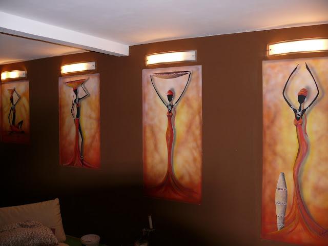 Aranżacja ściany w afrykańskim stylu, malowanie murzynek. Lulin