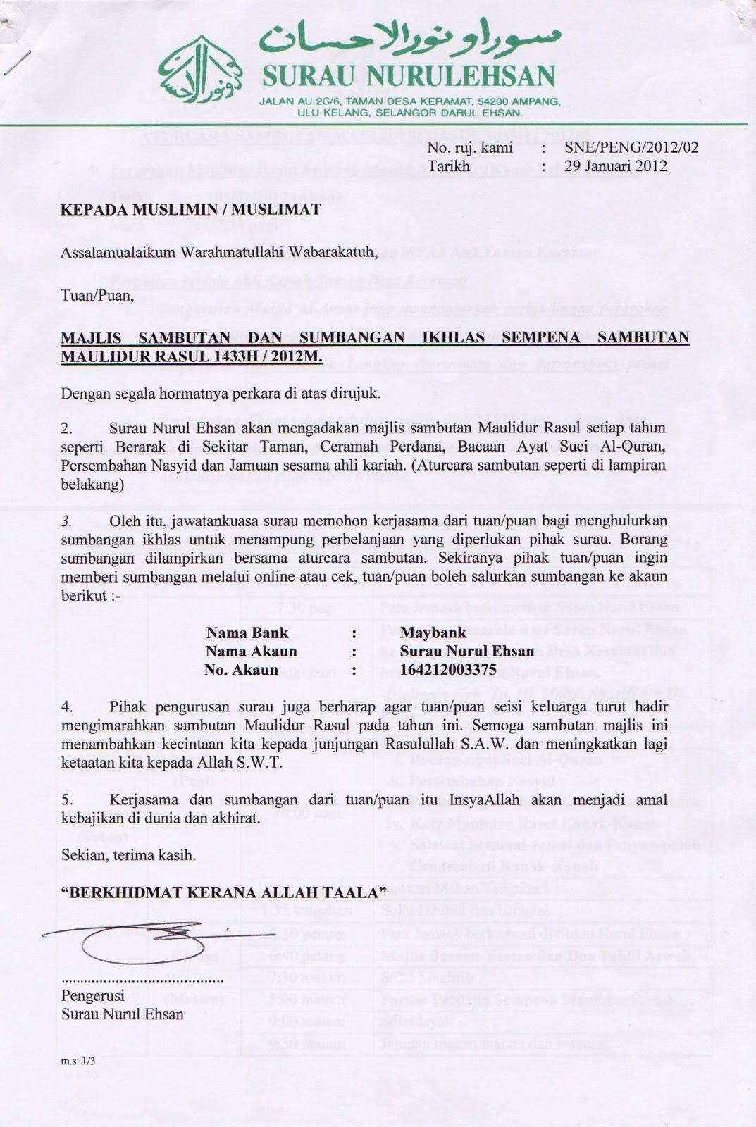 Surat Sambutan Majlis, Aturcara Majlis dan Borang Sumbangan sila klik