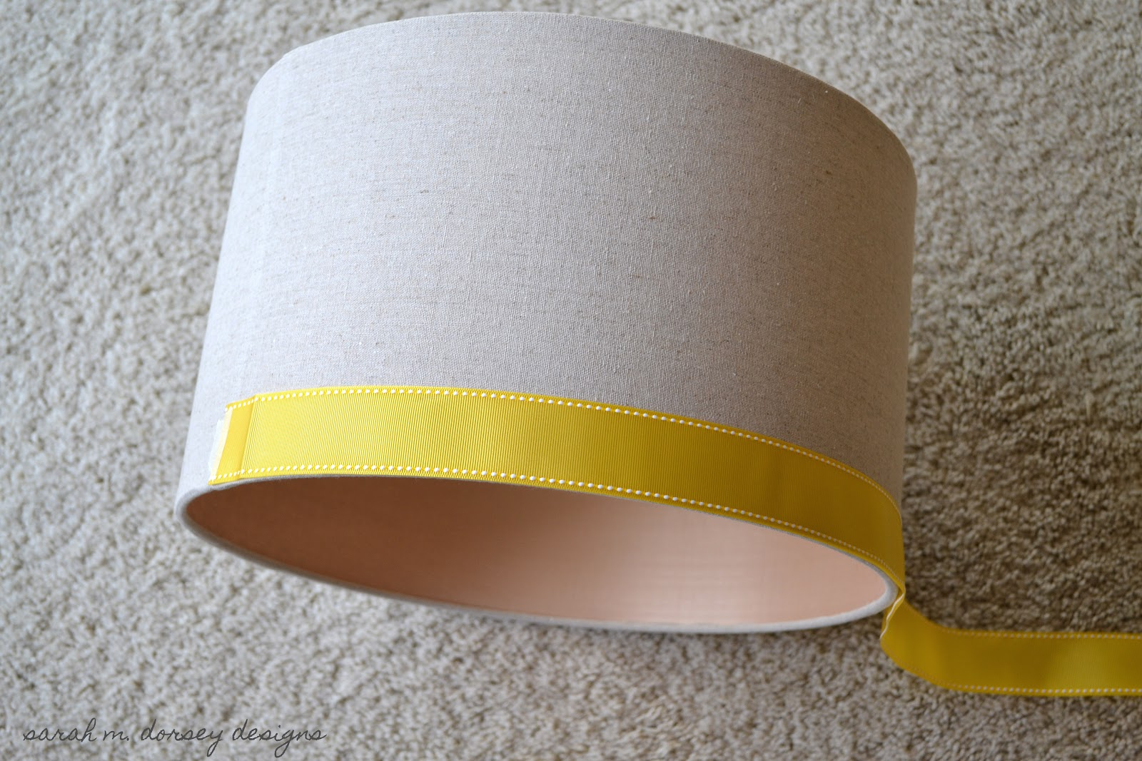 that i added some ribbon to a lamp shade i picked up a last year