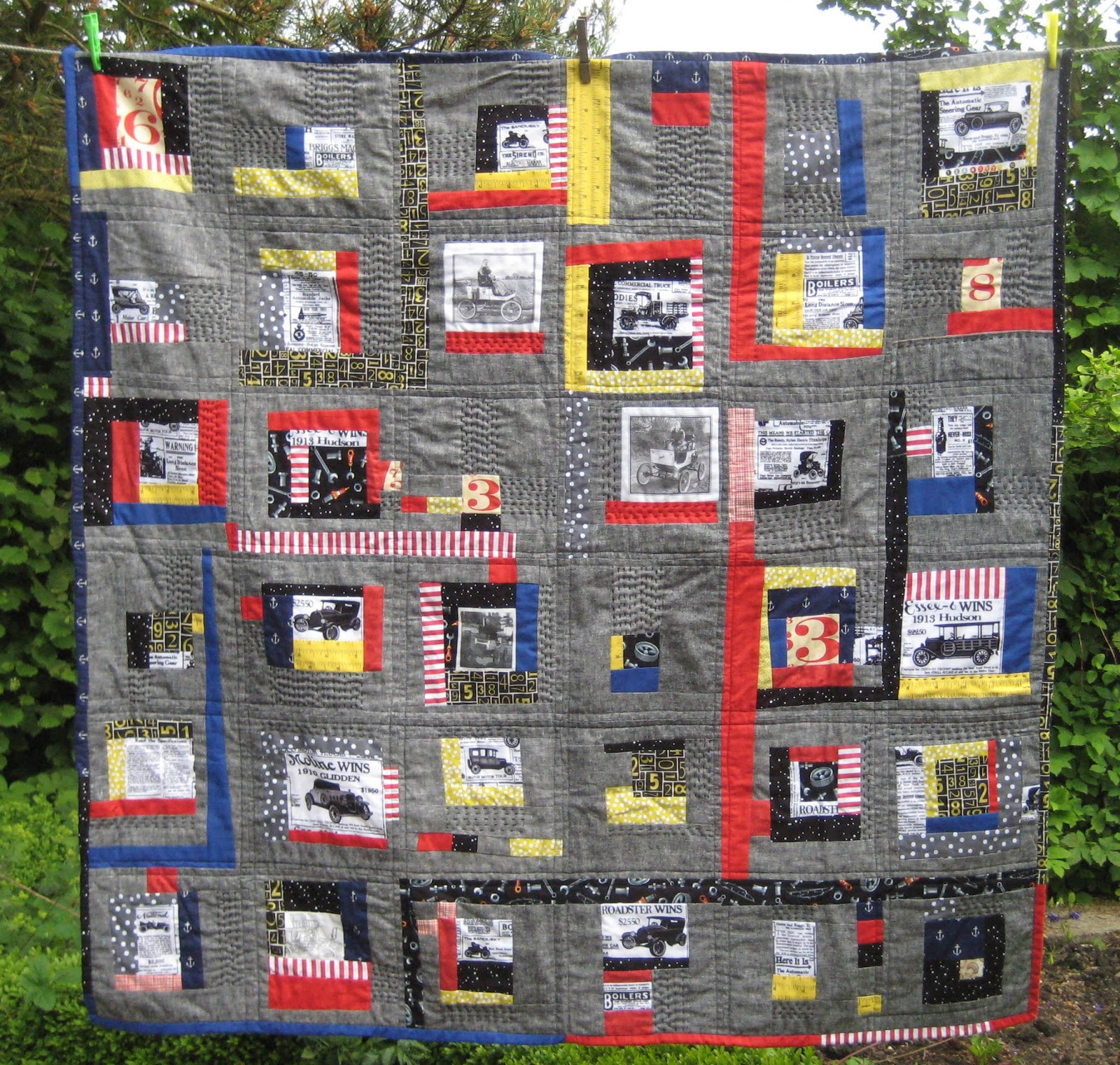Molebags the steam car lovers quilt for Frumble fabrics