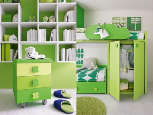 Green White Kids Bedroom Furniture, Smooth but not Aggresive ...