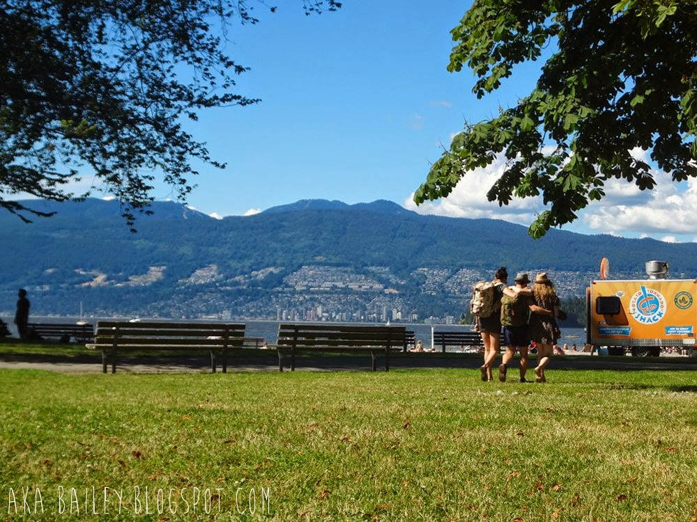 Three friends walking on the lawn at Kits Beach in Vancouver