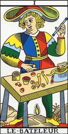 image of Le Bateleur from Marseilles Tarot deck