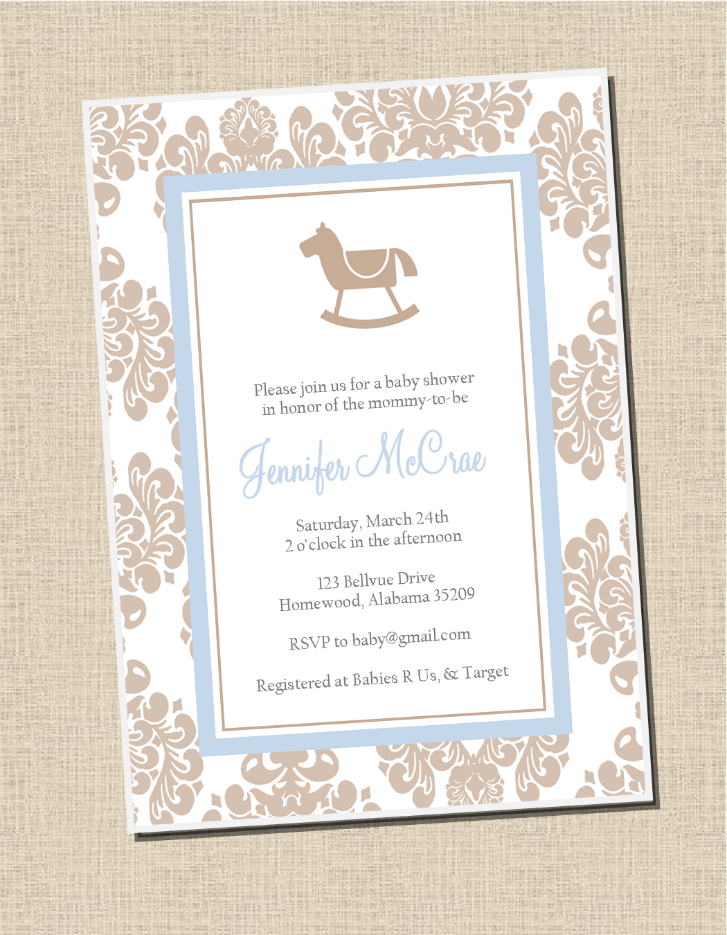 Damask Rocking Horse: Baby Shower Invitation - Sweet Peach Paperie