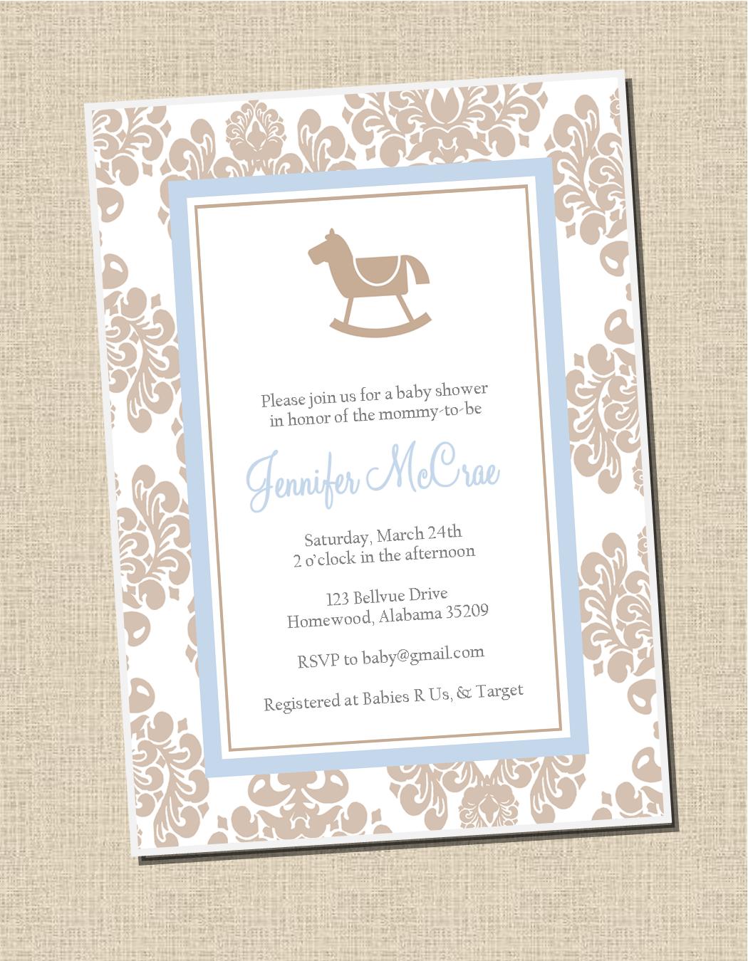 Damask rocking horse baby shower invitation sweet peach paperie damask rocking horse baby shower invitation filmwisefo Gallery