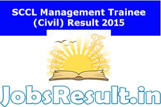 SCCL Management Trainee (Civil) Result 2015