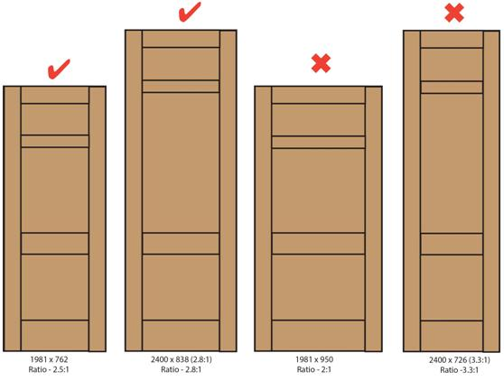 Door proportions for internal doors