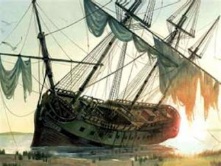 Artist's rendition of the pirate ship Queen Anne's Revenge after she ran aground