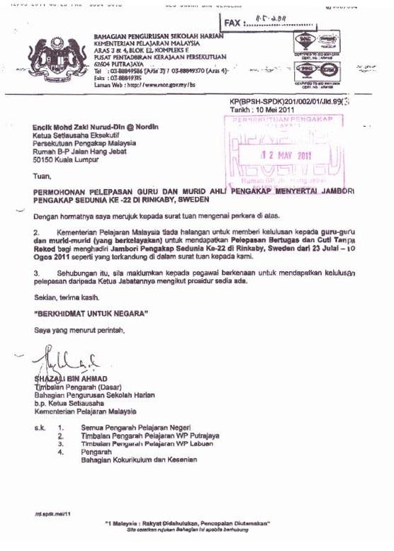 Surat Kebenaran Kementerian Pelajaran Malaysia - Jambori Pengakap