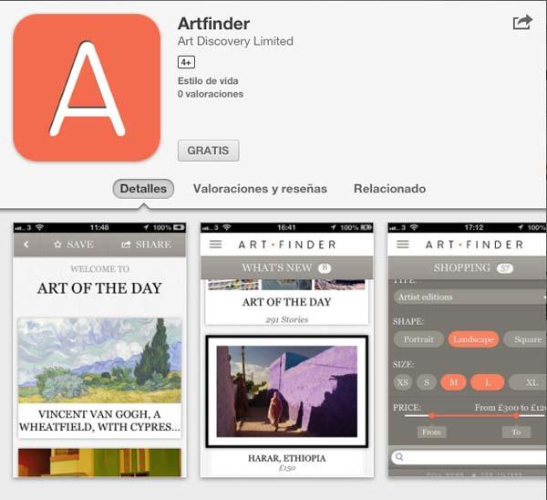 aplicaciones arte ArtFinder smartphone tablet apps