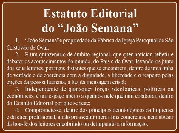 """O JORNAL OVARENSE """"JOÃO SEMANA FOI FUNDADO EM 1 DE JANEIRO DE 1914"""