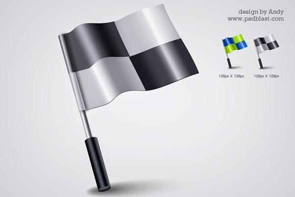 3D Flag PSD Icon