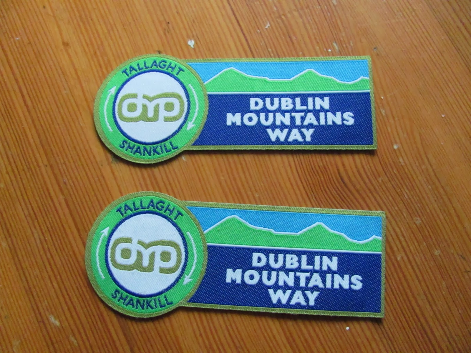 Dublin Mountains Way Official Badges on display after a hike in Co. Dublin