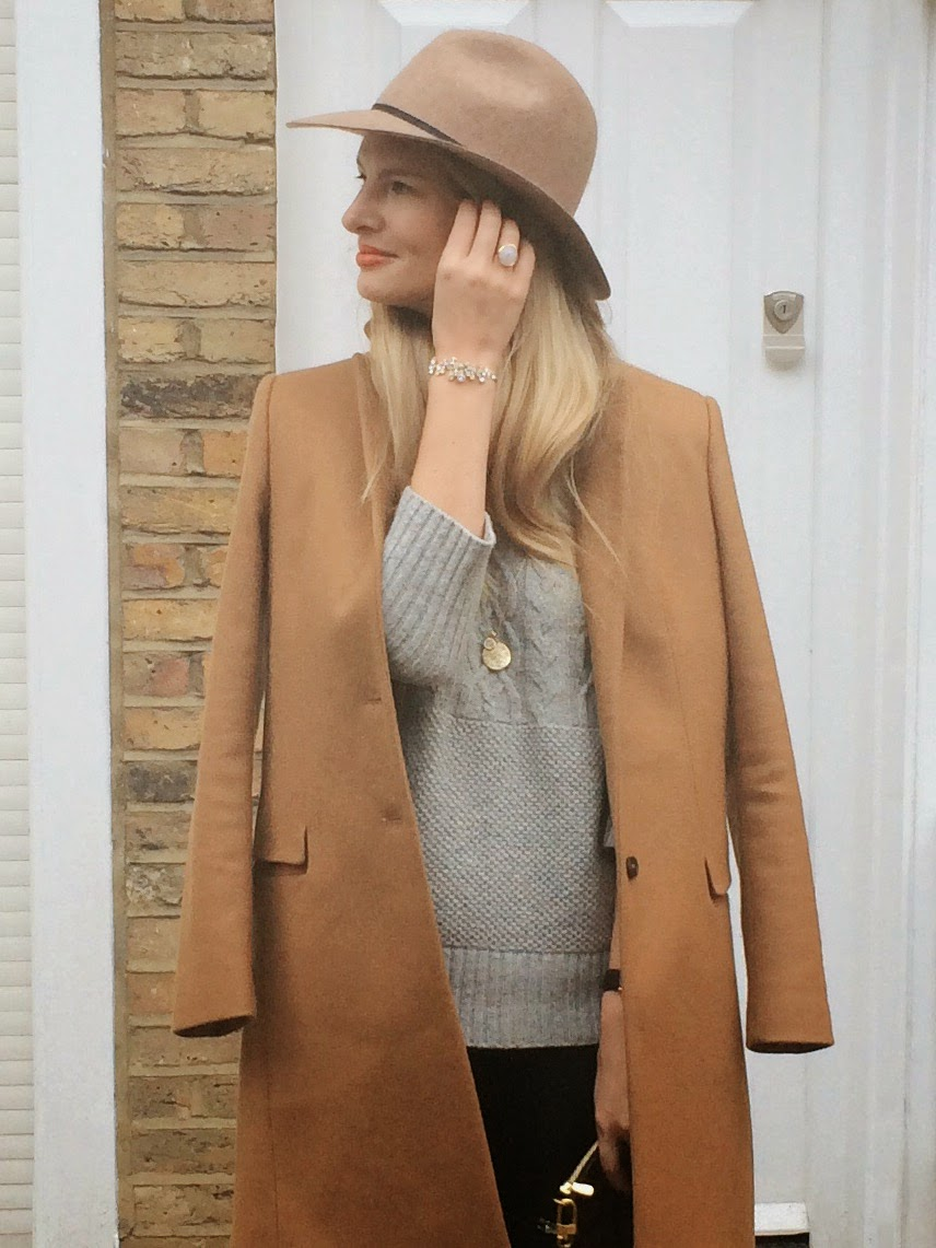 monica vinader moonstone ring, grey turtleneck jumper, caroline creba bracelet, fedora hat